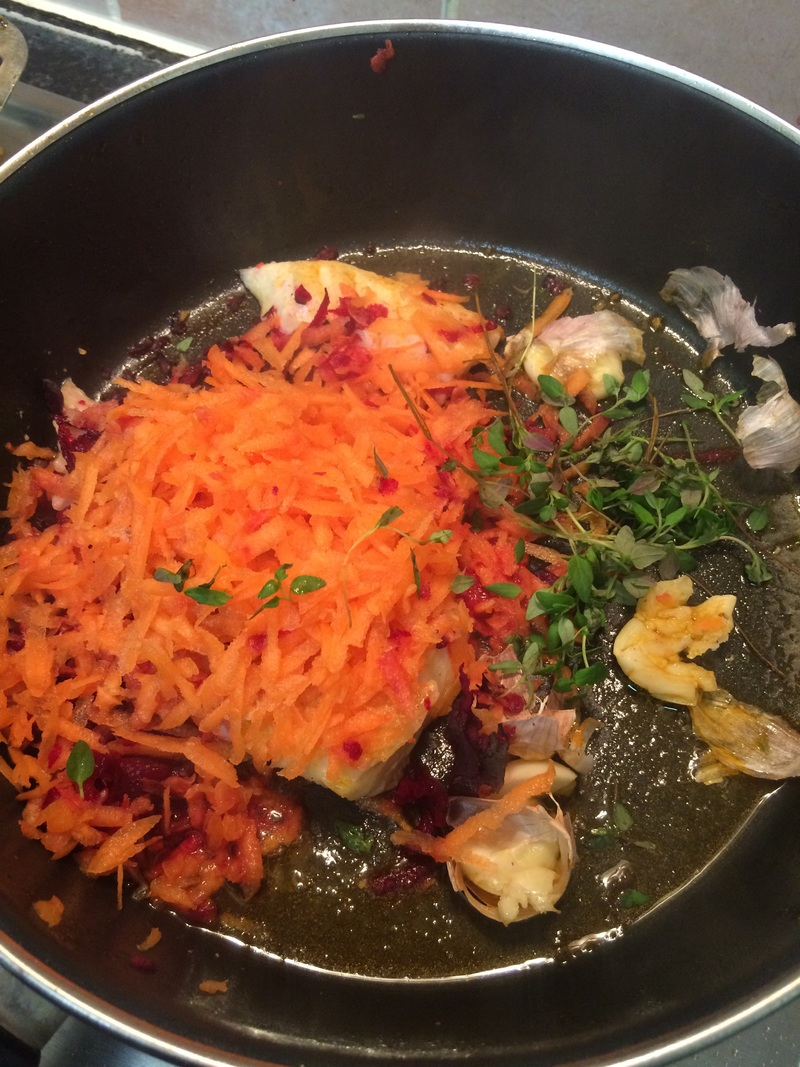 Butter And Herb Haddock With Beetroot And Carrot
