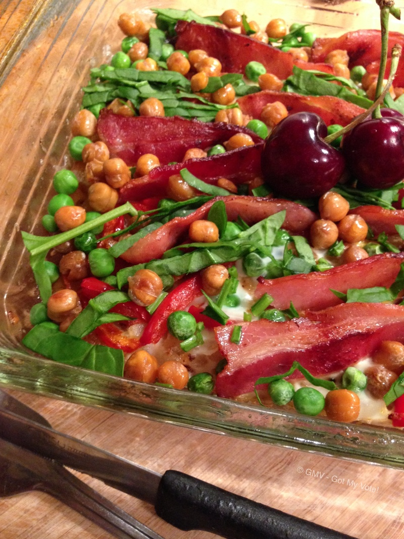 Hash Rosti with Roasted Chickpeas, Crisp Bacon, Spinach & Peas