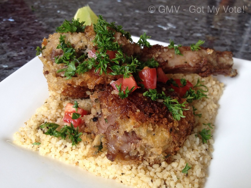 Dukkah-crusted Lamb Cutlets with Pesto Cous Cous