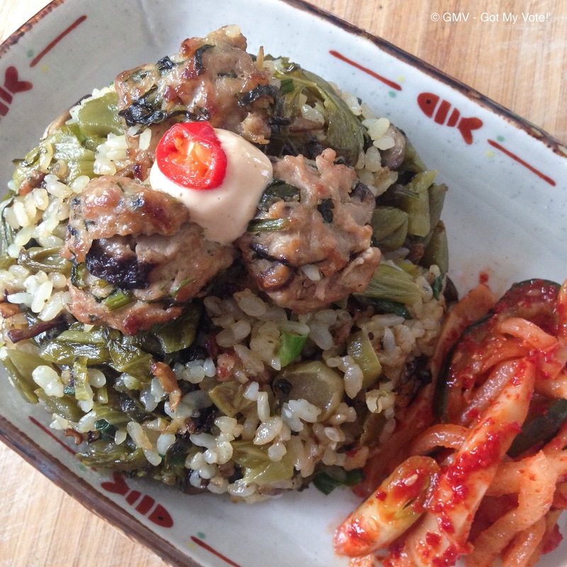 Pickled Vegetables Fried Rice with Mini Meat Balls