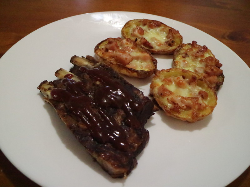 Slow Cooked Pork Ribs with Bacon and Cheese Potato Skins