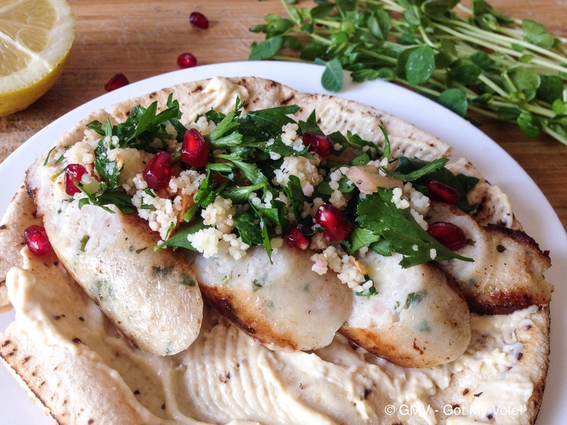 Chicken Sausage Shawarma with Pomegranate Tabbouleh