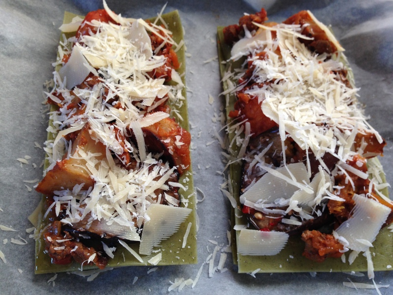 Open Wagyu Bolognese Lasagna with Roasted Vegetables