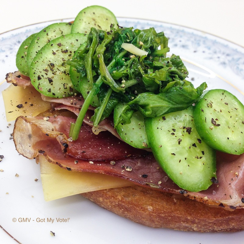 Bacon and Melted Cheese Bruschetta with Cucumber & Wilted Spinach