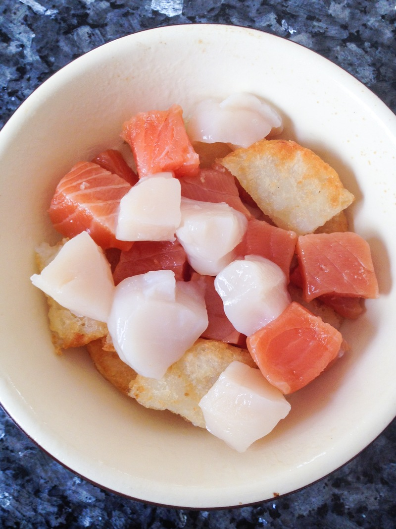 Baked Mentaiyaki with Scallop & Salmon