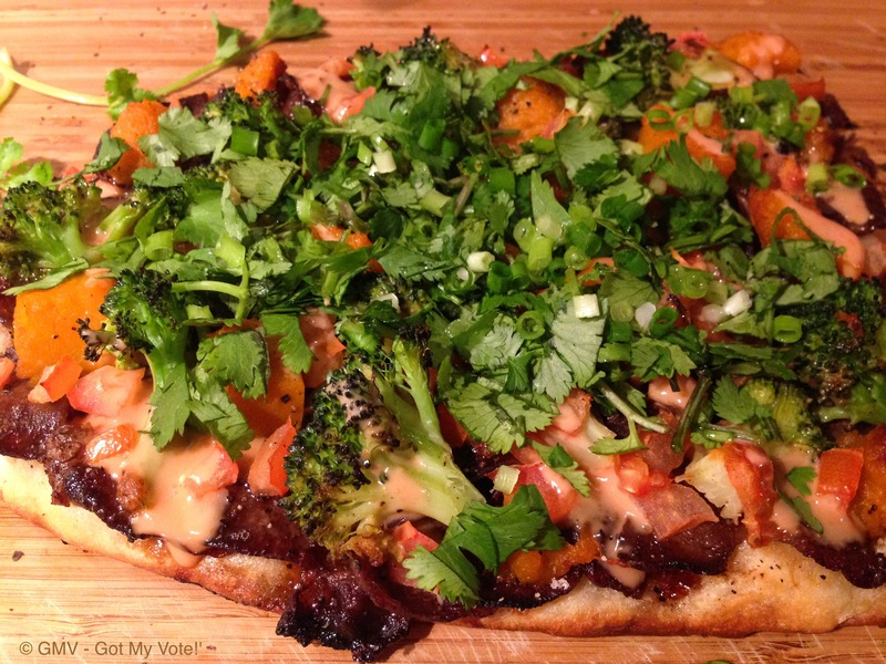Red Wine Beef Pizza with Asian Greens