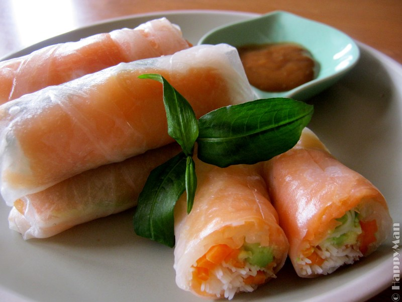 Salmon and Avocado Rice Paper Rolls