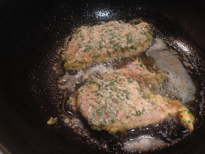 Cheese and Olive Crumbed Chicken