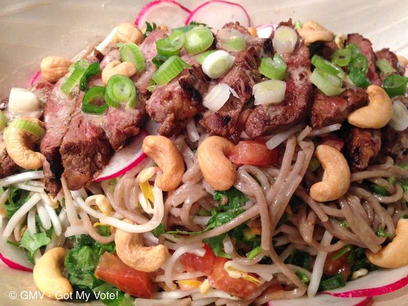 Asian Noodle Salad with Pan Seared Scotch Fillets