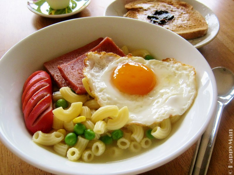 Macaroni Soup With Canned Meat Sausage Amp Fried Egg Recipe