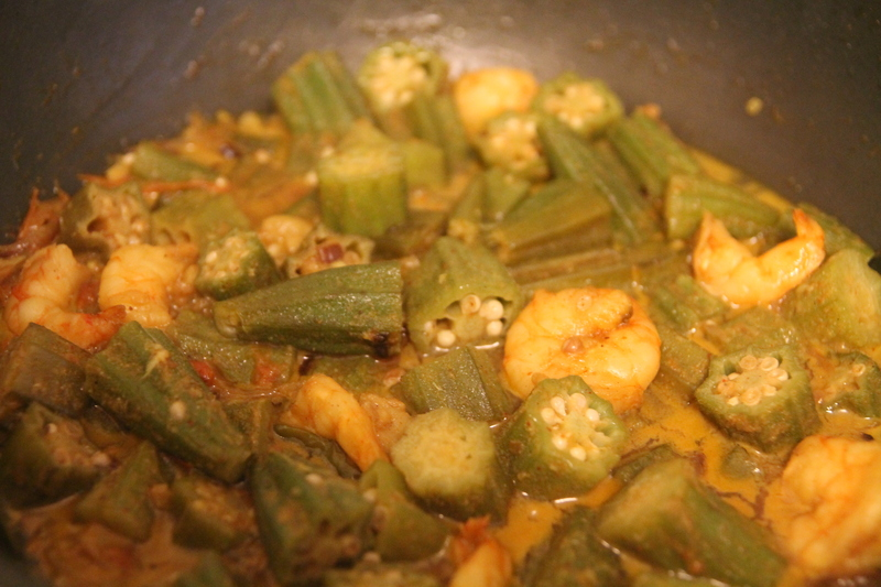 onions being sauted  - Prawn and Okra Curry