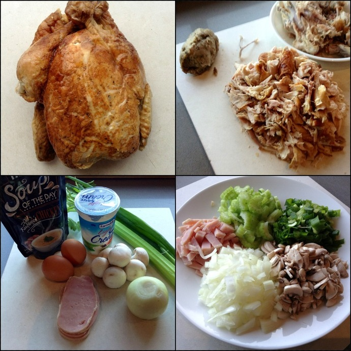 Ingredients, Chicken, Vegetables, Chopped