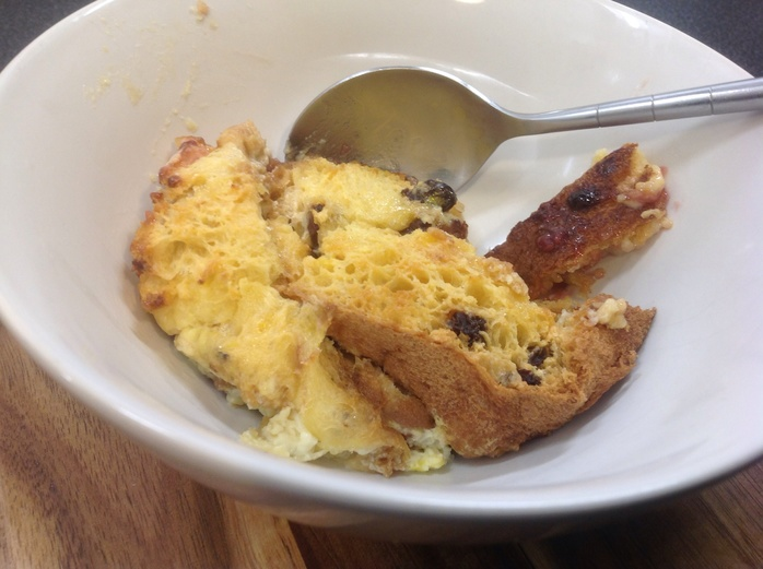 Jammy bread and butter pudding