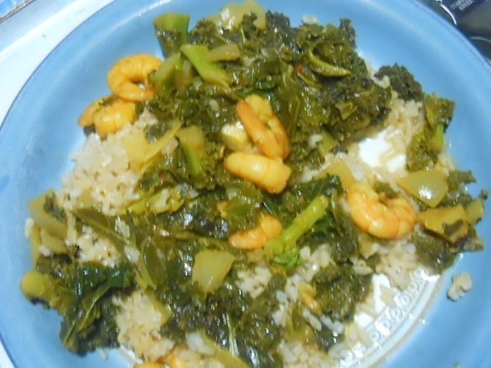 kale & prawn curry