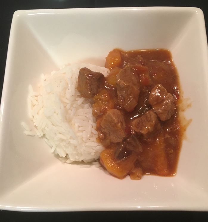 Lamb curry with pumpkin and rice