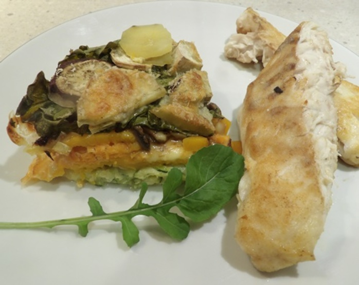 layered,vegetable,bake,with,fish