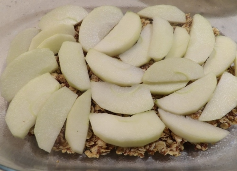 mixing,porridge,with,butter,and,other,ingredients  - Baked Porridge Apples with Home Made Custard