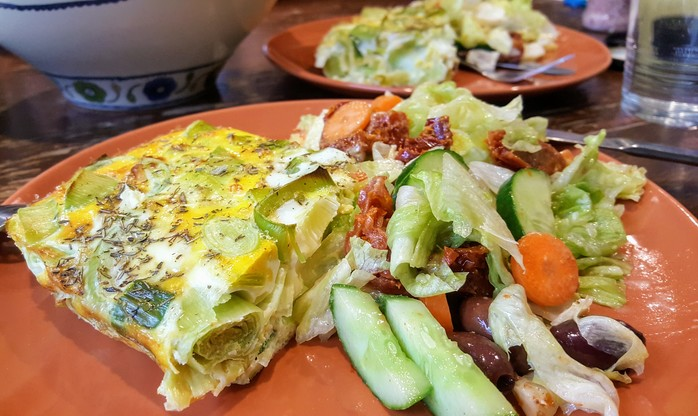 Leek frittata with garden salad