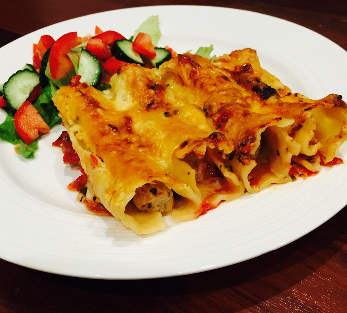 Lemon And Oregano Chicken Cannelloni With Salad