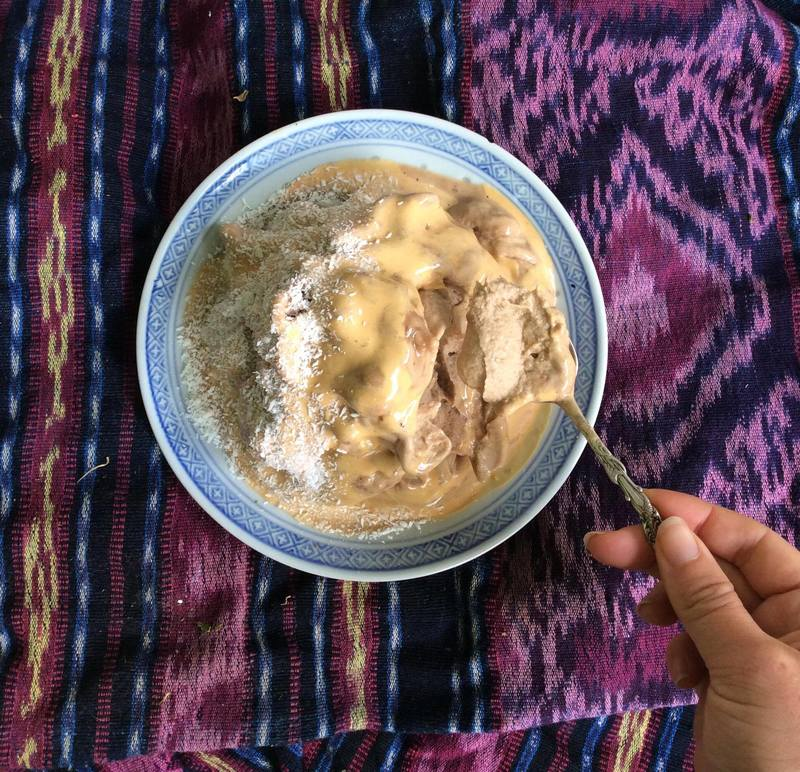 Low Fat Peanut Butter and Coconut Nicecream