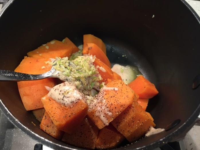 making,mashed,sweet,potatoes