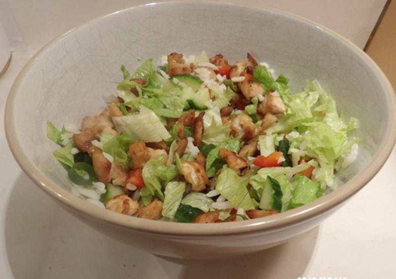 making,turkey,salad  - Sweet and Sour Turkey Salad with Broccoli Baked Potatoes