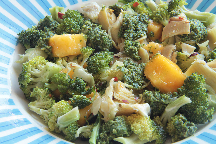 Mango and broccoli salad, healthy vegetarian salad