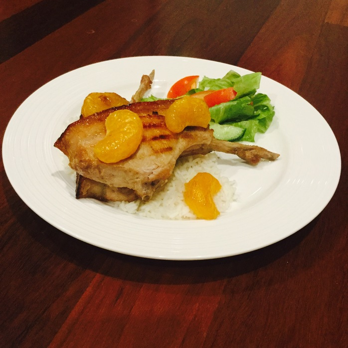 Maple And Mandarin Marinated Pork With Rice And Salad