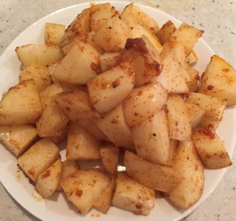marinating,potatoes,in,sauce  - Baked Potato, Bacon and Chicken Casserole