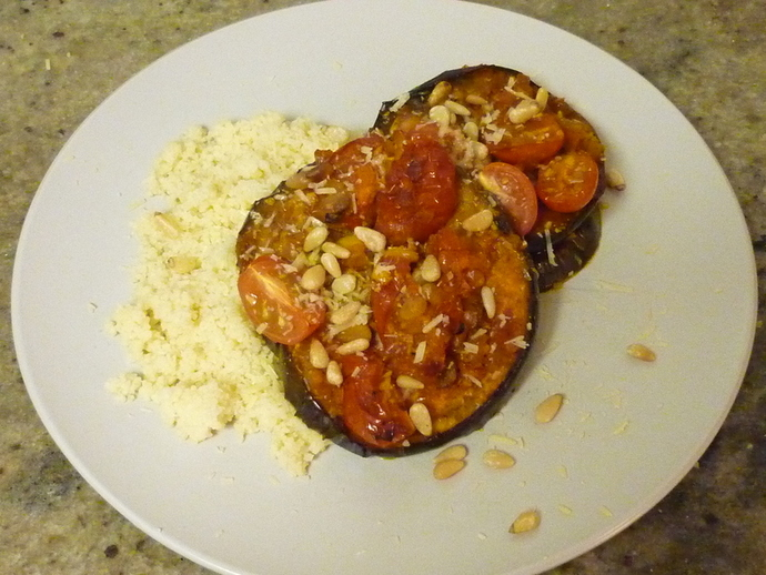 Marrakesh Eggplants and Tomatoes Served