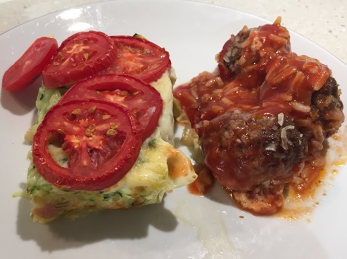 meatballs,filled,with,cheese,and,a,zucchini,and,tomato,bake