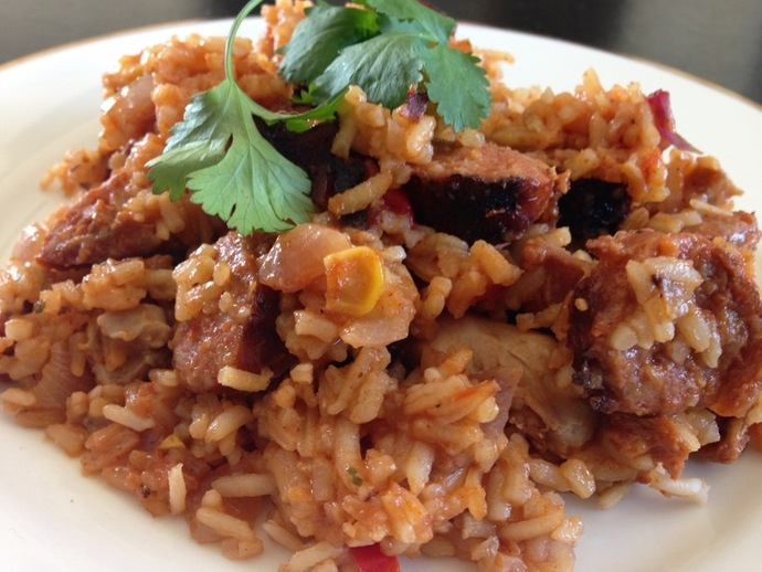 Mexican rice, dinner, chicken, chorizo