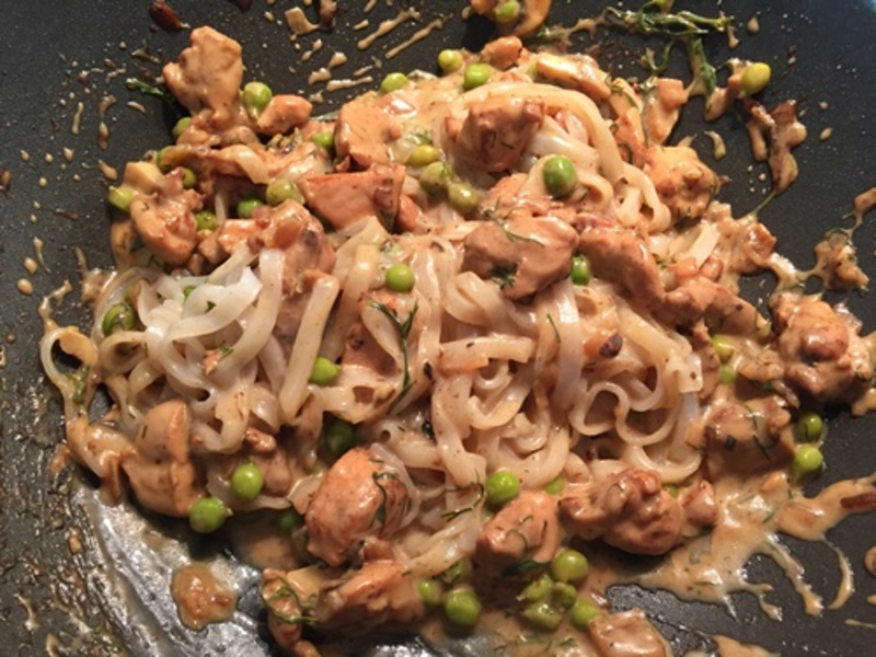 Adding,peas,to,cooked,chicken  - Chicken in Lemon Sauce