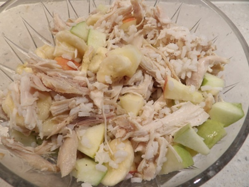 mixing,pulled,chicken,and,red,and,green,apples  - Medley of Cold Salads for a Hot Summer Night