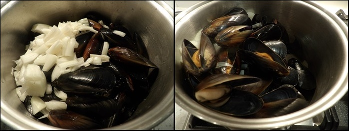 mussels,before,and,after,cooking