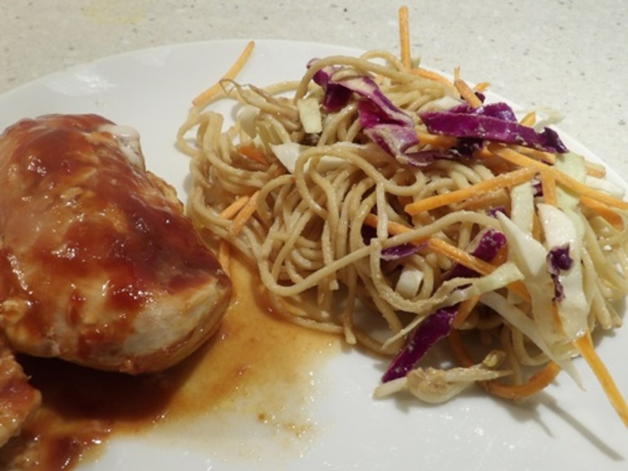 noodle,salad,served,with,teriyaki,chicken