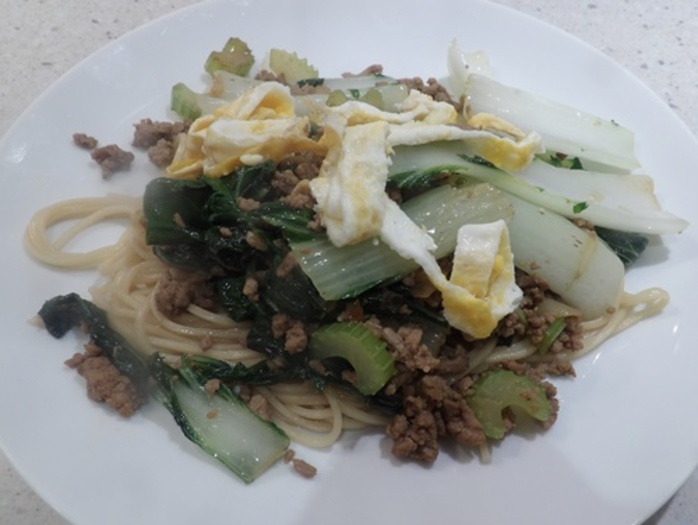 noodles,with,turkey,mince,and,bok,choy