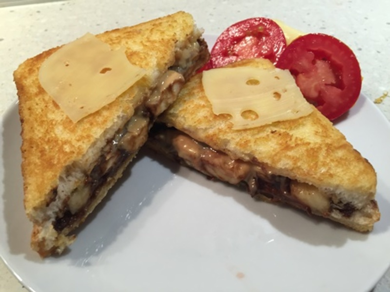 Nutella Peanut Butter Banana And Cheese Toasted Sandwich