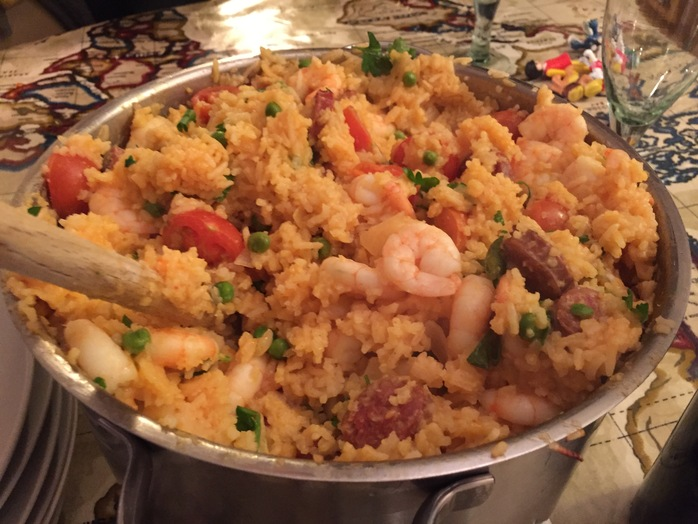 One pot, prawn, chorizo, easy sharing dinner