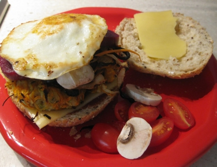 open,veggie,burger,with,friend,egg