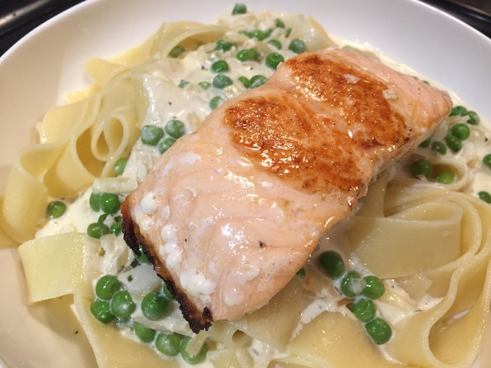 Pan seared salmon, pappardelle, white wine sauce