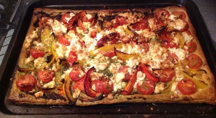 pepper, cherry tomatoes, pesto, feta, puff pastry, tart