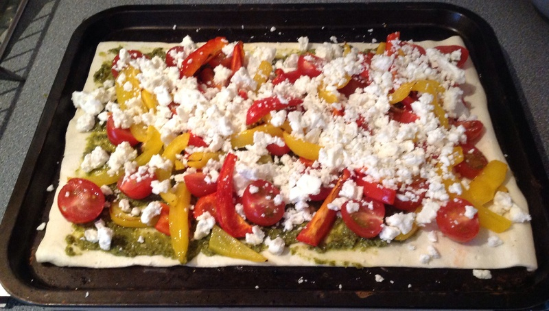 pesto, puff pastry, tart