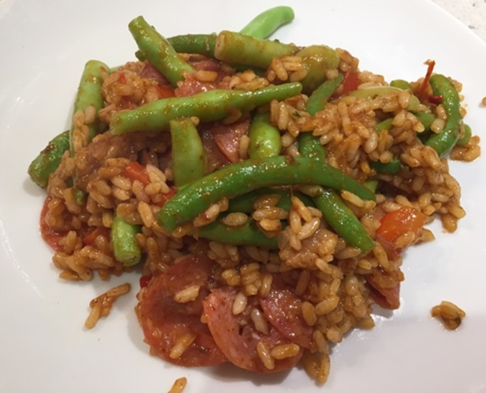 pepperoni,risotto,with,green,beans