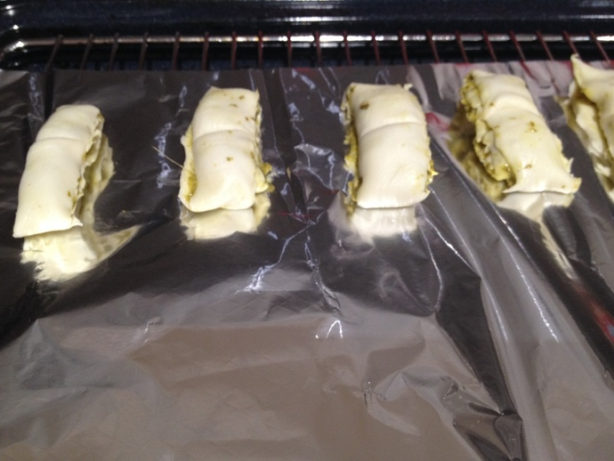 pesto puff pastry in oven