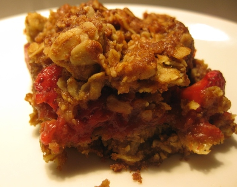 piece,of,strawberry,rolled,oat,slice  - Rolled Oats Crumble Bars With Fresh Strawberries