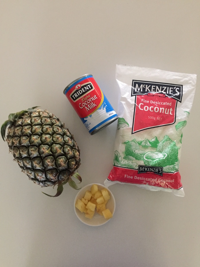 Pineapple and coconut pina colada sorbet ingredients