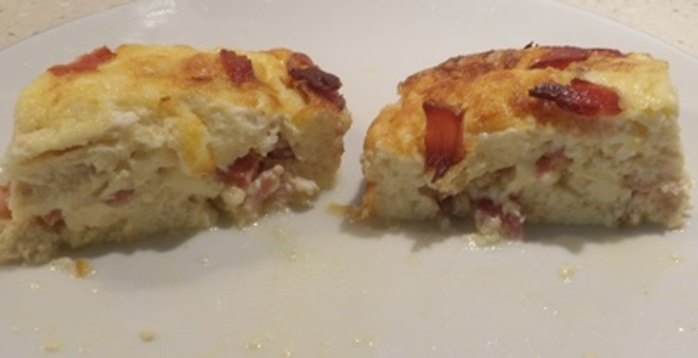 plated,bacon,cheese,and,egg,strata