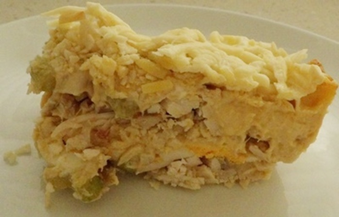 plated,cheesy,chicken,with,crunchy,potato,chip,and,almond,topping