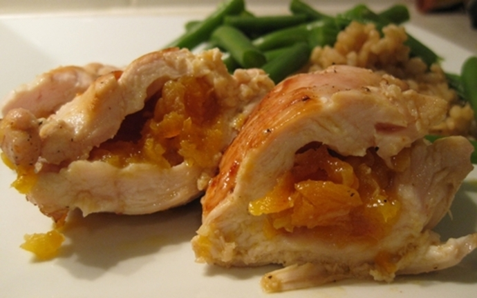 cooked,chicken,apricot,honey,rolls